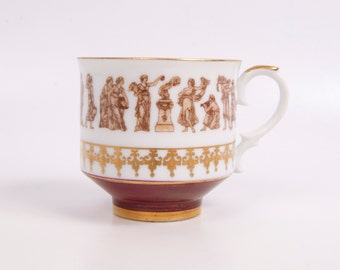 Vintage Royal Crown Teacup Roman Festival Demitasse Espresso Gold and Burgundy Tea Cup Made in Japan