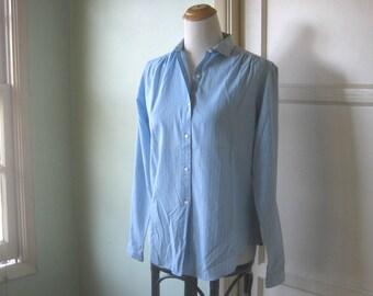 Oxford-Inspired Light Blue White Stripe Shirt - White Striped Light Blue Blouse - Long Sleeved, Small Collar Blue Button Up; Small-Medium