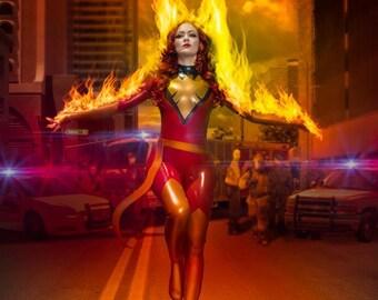 Dark Phoenix Rising Latex Catsuit