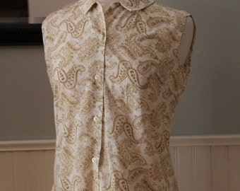 Vintage 1960s Brown Paisley Sleeveless Button Down Blouse, Small