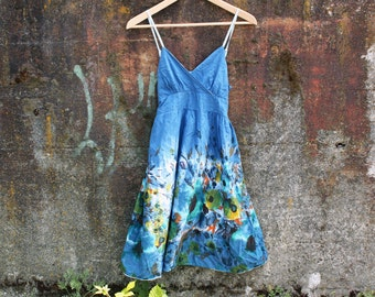 Blumenkleid: Hand dyed dress, size S, shibori dress, festival clothing, summer dress, blue summer dress