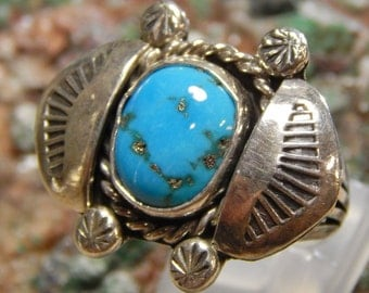 Sterling Turquoise Ring signed L. Sheka
