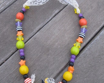 Cutesy Witch Halloween Beaded Necklace