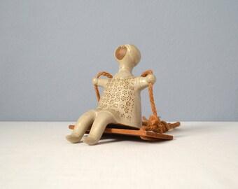 Rare Vintage David Stewart Lion's Valley Seater Figurine on a Swing