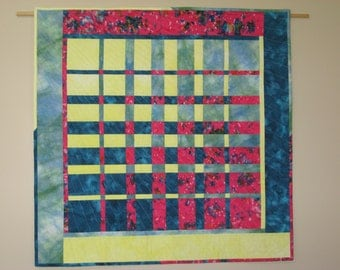 Quilted Table Topper or Wall Hanging, Harmonic Convergence #1, Hand Dyes