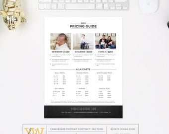 Pricing Guide Template - Photography Form - Business Tools for Photographers -  Price List - INSTANT DOWNLOAD - Sku PL001