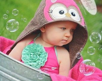 Pink Owl Hooded Applique Bath Towel baby girl Toddler Bath time Christmas Gift Beach Towel Baby Shower