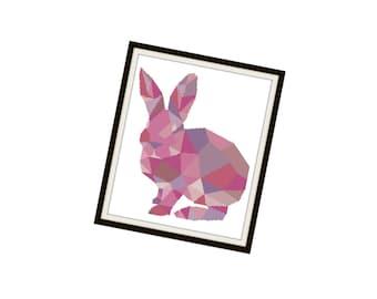 HALF OFF PATTERNS Sale Rabbit Cross Stitch Pattern - Modern Cross Stitch Pattern - Origami Animal Cross Stitch Pattern - Geometric Animal Cr