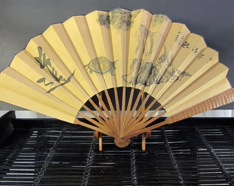 Vintage 90's Japanese paper, silk and bamboo fan 13""