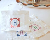 Embroidered Linen Cocktail Napkins - Two Color Monogram