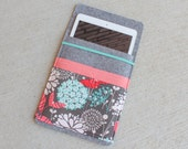 Merino Wool Felt tablet sleeve case with pockets elastic closure CUSTOMIZABLE for iPad - Gray Coral Teal botanical