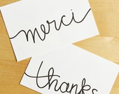 Thank You Cards Set - Merci Printable Cards Appreciation Card Hand Lettered Cards Black and White Art Thank You Notes Simple Thanks Card