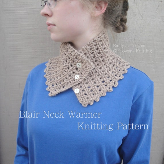 Knitting Easy Pattern Scarf Neck Warmer : Easy Knitting Pattern Blair Neck Warmer Cowl Scarf Button