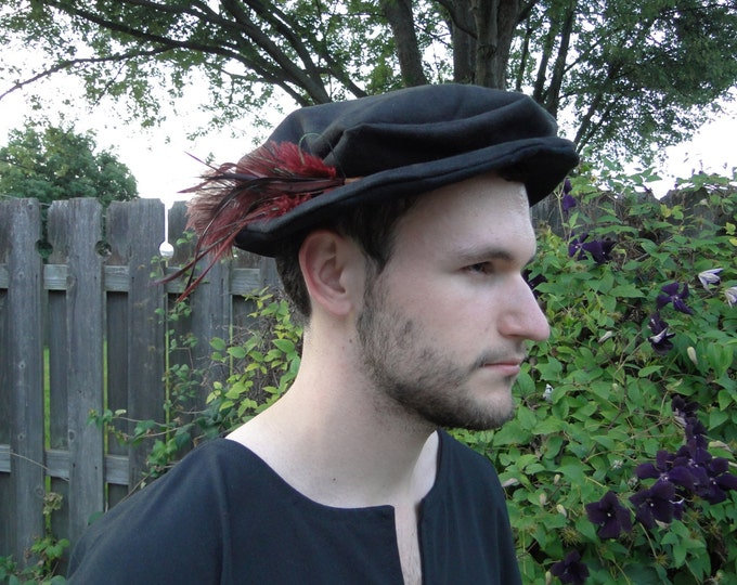 Medieval Renaissance Hat - Costume Accessory - Black Faux Suede Fabric