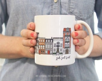 New York City Mug – eclectic buildings, NYC architecture kitchen decor, quirky kitchen,vintage buildings, colorful urban streetscape