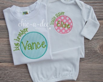 Personalized Big Brother - Little Sister Sibling Set