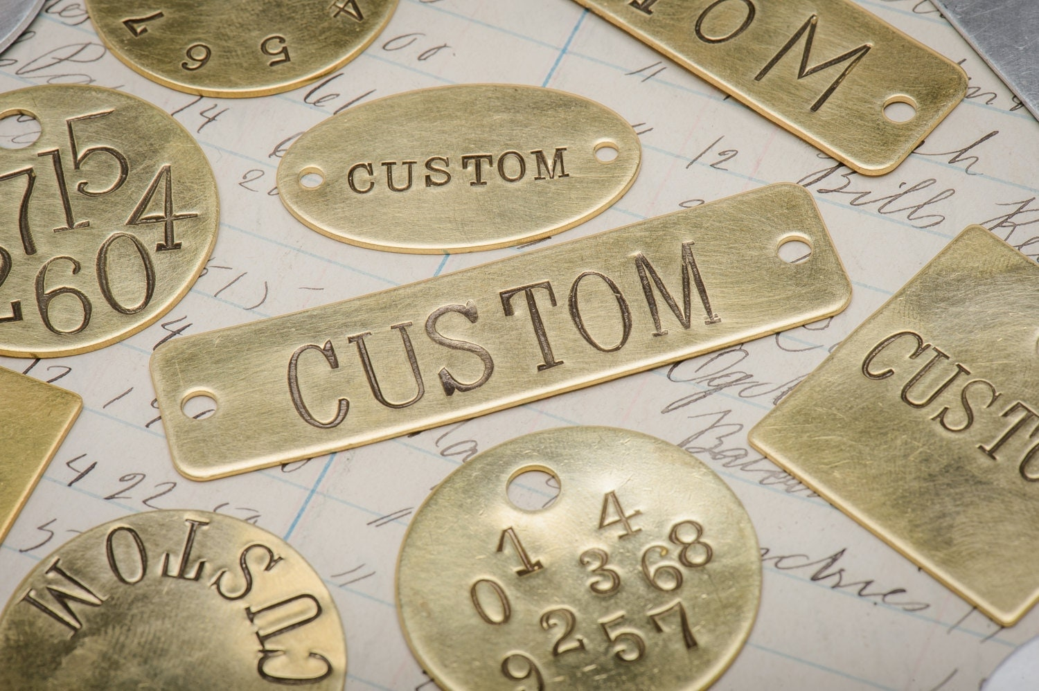 custom hand punched brass and metal tag hand stamped key. Black Bedroom Furniture Sets. Home Design Ideas