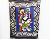 Vintage Southwestern Wool Blanket - Geometric Figure Tapestry
