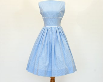 50's/60's Custom Fit and Flare Dress, Retro Blue Gingham Dress, Lady Dress
