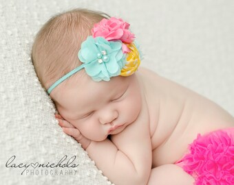 Yellow, Pink and Aqua headband, pink headbands, rosette headbands,newborn headbands, summer headbands,photography prop