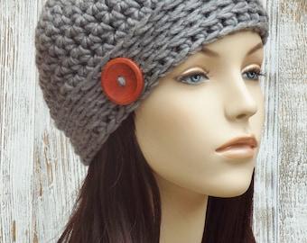 Gray Beanie Hat - Crochet Beanie Button Hat - Womens Crochet Hat - Grey Heather Hat - Skullcap Beanie - Winter Accessories // THE NOOR //