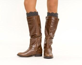 Charcoal / Dark Gray Crochet Ruffled Boot Cuffs, Boot Topper, Scalloped, Crocheted, Handmade Knit Women's Winter Accessory, Boot Warmer
