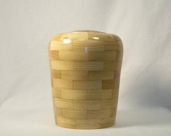 Segmented Cypress Cremation Urn With Ambrosia Maple top