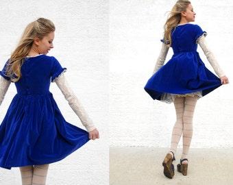 Vintage 1950s dress, blue velvet velveteen short mini dress, white tulle lace, girls XXS XS petite girls Heather SALE