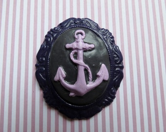 Anchor Cameo Pendant OR Brooch (purple)