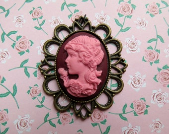 Victorian Girl Cameo Pendant (pink and fuchsia)