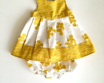 Baby Dress 12-18m, 18-24m, or 2T, Mustard Yellow and White with Bloomers outfit