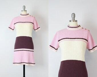 vintage 60s sweater dress / 1960s striped knit dress / pink purple knit dress / mini knit sweater dress / Neopolitan knit dress