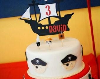 Pirate Ship Cake Topper, Pirate Birthday, Pirate Ship Decorations, Pirate Party, Smash Cake topper, Cake topper, first Birthday, Paper Goods