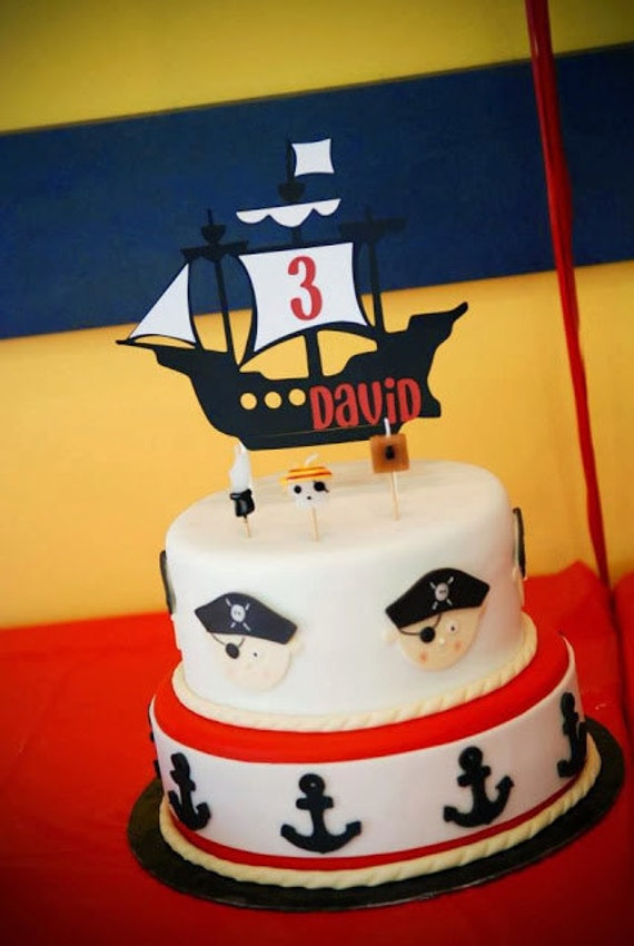 Pirate Ship Cake Topper Pirate Birthday Pirate Ship