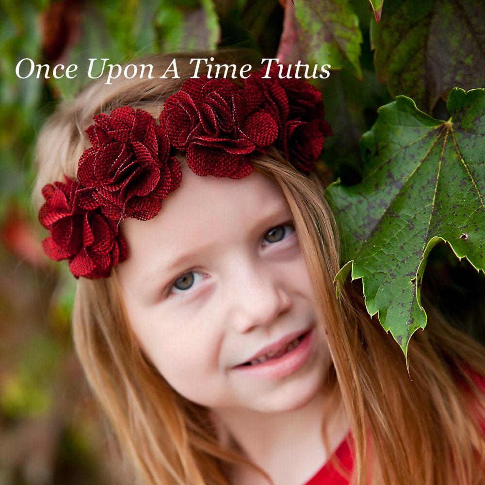 Dark Red Burlap Flower Crown Headband Hippie Chick Halo Photo Prop