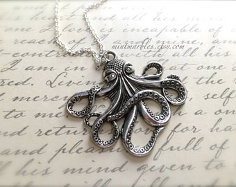 Silver Octopus Necklace. Statement Necklace. Antique Silver. Ocean Life. Beach. Nautical. Large Pendant. Silver Chain. Under 20 Gifts.