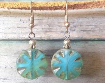 Seascape Pressed Glass Earrings.