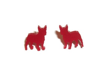 Red French Bulldog Earrings, Kitsch Dog Stud Earrings, Cute Kawaii Quirky Kitsch