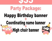 Mickey Mouse Birthday // Minnie Mouse Birthday // Package // Birthday Package // Happy Birthday banner // name banner // high chair banner