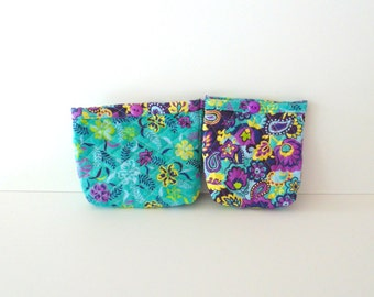 Handmade Quilted Cosmetic Bag Set with Teal and Purple Paisley and Flowers