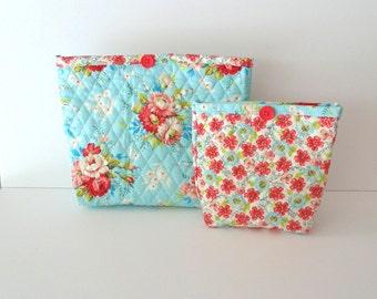 Handmade Aqua Rose Quilted Cosmetic Bag Set - Makeup Bag Set - Toiletries Bag Set - Travel Kit Bag Set
