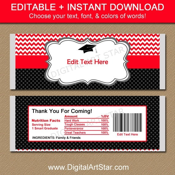 Graduation candy wrappers large chocolate bar by for Free printable graduation candy bar wrappers templates