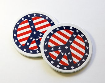 Peace Sign Coasters, Set of Coasters, Wine Coasters, Drink Coasters, Coasters, Hostess Gift, Stars and Stripes, Stocking Stuffer (5086)