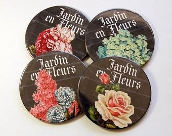 Drink Coasters, Set of Coasters, Flower Coasters, Coaster, Jardin en Fleurs, Wine Coasters, Hostess Gift, Housewarming Gift, Floral (5180)