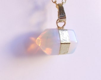 Hexagon Opalite. Crystal Necklace Opal hexagon pendant. Gold tone. Moonstone necklace. Gemstone necklace. Geometric jewelry.