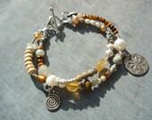 Pearl Bracelet, Citrine, Sterling Silver, 2 Strand, Artisan