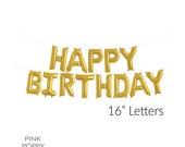 "HAPPY BIRTHDAY Gold Mylar Balloons - 16"" Letter Balloons"