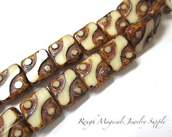 Abstract Beads, Brown Cream, Czech Glass Beads, 10mm Square Beads, Rustic Earthy Colors - 12 Pieces