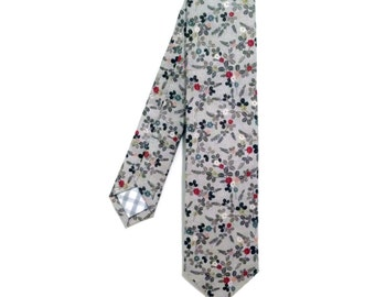 Grey Floral Necktie, Colorful Flowers Tie