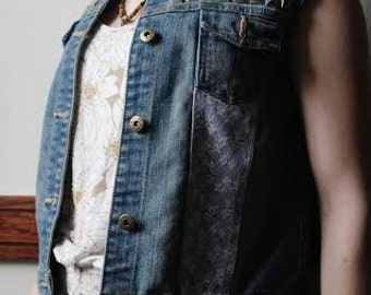 Denim Vest with stud and lace detail